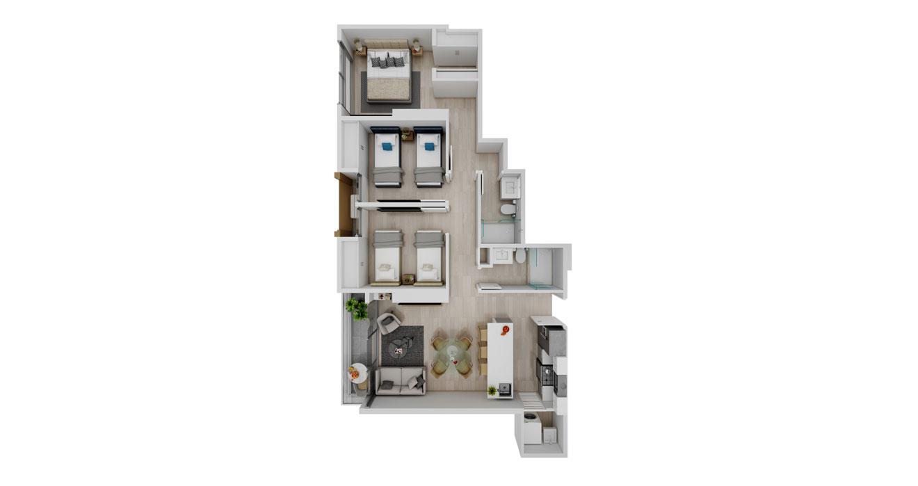 Balcony - Apartamento B - Vista superior
