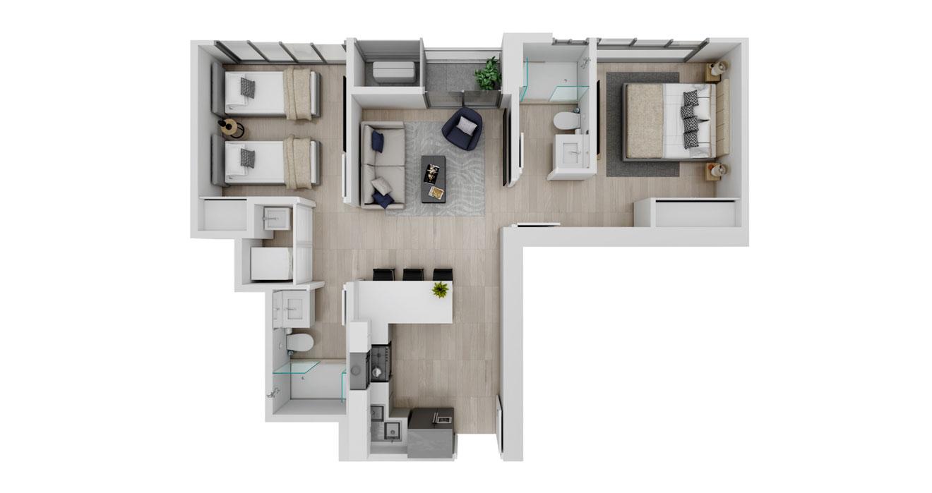 Balcony - Apartamento C - Vista superior