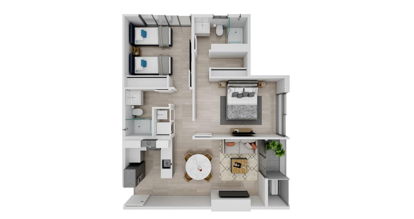 Balcony - Apartamento E - Vista superior