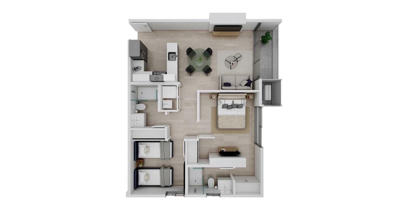 Balcony - Apartamento F - Vista superior
